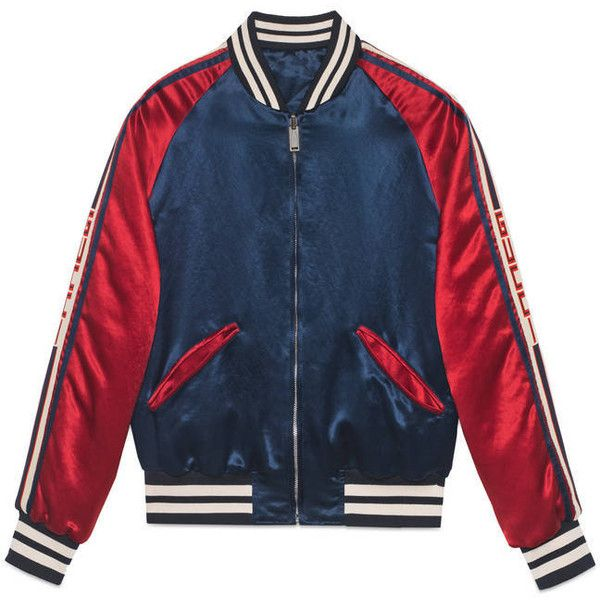 0789a0f37 GUCCI Reversible Webbing-Trimmed Satin-Twill Bomber Jacket ($2,490 ...