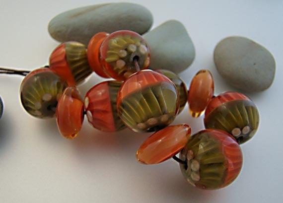 lampwork beads handmade set series by jancbeads on etsy