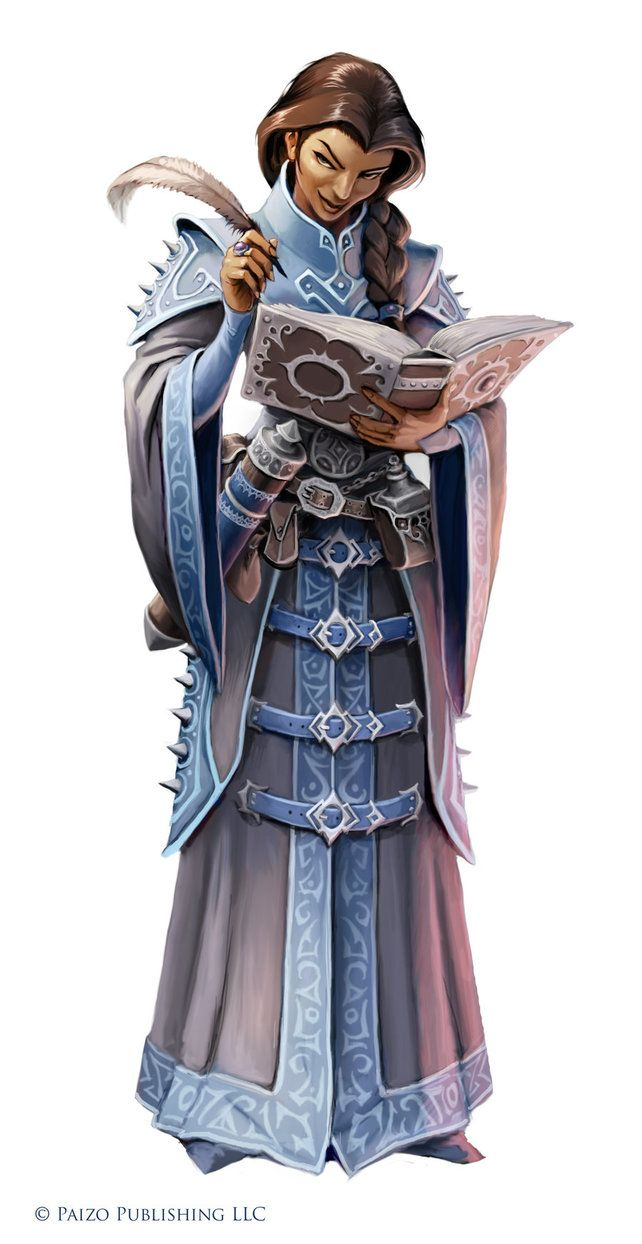 female human mage write quill book scroll cloth robe braid noble tower castle elite royal  Pathfinder Shyka by WillOBrien whtbg
