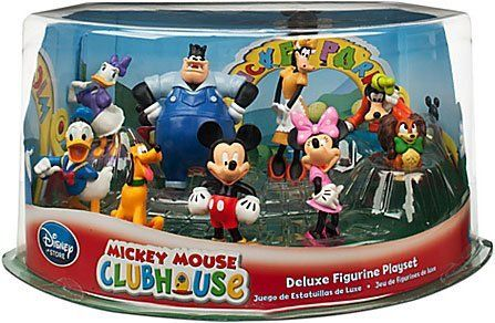 Disney Store Mickey Mouse Clubhouse Play Set: Deluxe 9 Pc. PVC Figurine Toy Playset by Disney Store. $39.99. Detailed and colorful. Deluxe 9 pc. set includes Mickey Mouse, Minnie Mouse, Donald Duck, Daisy Duck, Pluto, Goofy, Clarabelle, Pete & Fifi. Plastic/PVC figures up to 4'' H. Authentic and exclusive Disney Store product with reliable quality and durability. Join the club! Your little ones will have endless fun hanging out with all of their favorite Mickey Mous...