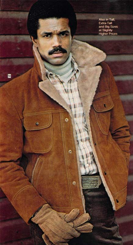 Men's split cowhide coat from a 1977 catalog. #1970s #fashion http://www.retrowaste.com/1970s/fashion-in-the-1970s/1970s-fashion-for-men-boys/