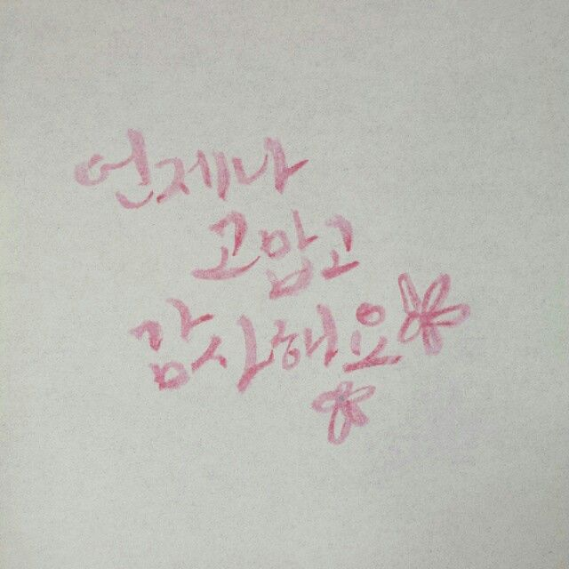 #Calligraphy, Hangle, Pink, Always, Thanks, Thank you, Love, For you