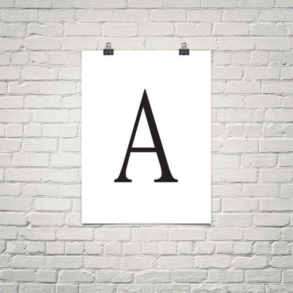 Letter A on White - Custom typography poster print. Great for last names starting with A in offices bedrooms kitchens and more. (12.00 USD) by BoustrophedonArt