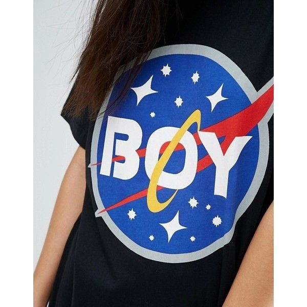 Boy London Space Logo Tee ($44) ❤ liked on Polyvore featuring tops, t-shirts, boy london, blue tee, logo t shirts, boy london t shirt and logo top