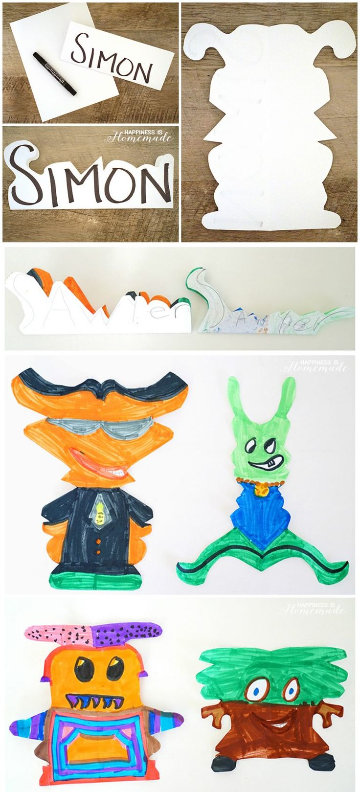 Kids Art - Make Alien Creature Monsters from Your Name