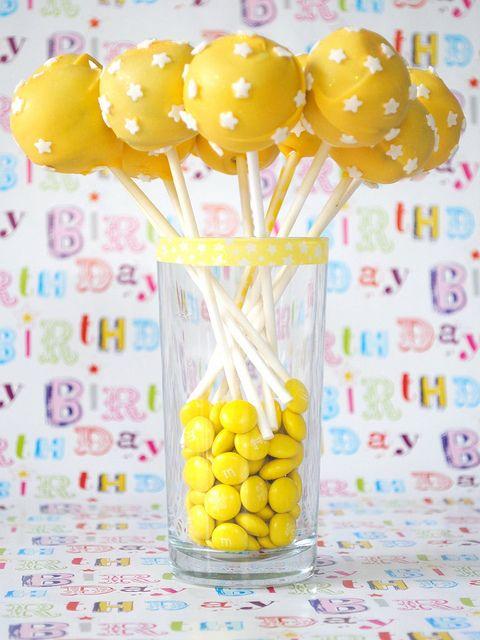cake balls and yellow m&m's