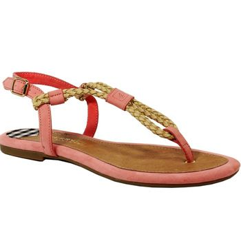 Brand New Sperry 2014 Top-Sider Women's Lacie Espadrille Pink Leather Sandal T-Strap Woven Flats ladies Flip Flops Shoes