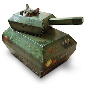 "Whenever my sweet Lily would park herself in a box and peek out, we called her ""our little T-34"" - which is a Russian-made tank.  This is just too cute a reminder..."
