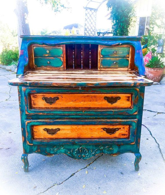 Shabby Chic Desk green w/ copper & gold by ReincarnatedwithLove