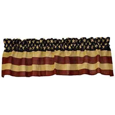 New Country Primitive Americana AMERICAN FLAG BURLAP Curtain Window Valance