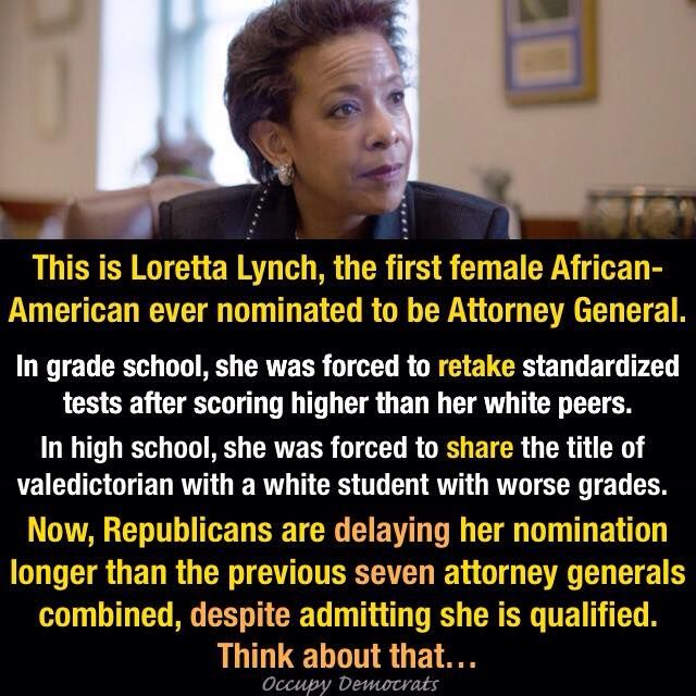 """The racism that Ms. Lynch experienced was more subtle. She attended an elementary school with mostly white students, and recalled scoring high on a standardized test. Administrators demanded the young Ms. Lynch retake it, she said. Ms. Lynch's mother fought back, saying the score wouldn't have been questioned if her daughter was white. Ultimately, Ms. Lynch took the test again and, to her mother's ""great delight,"" scored even higher, she said."" Image by Occupy Democrats."