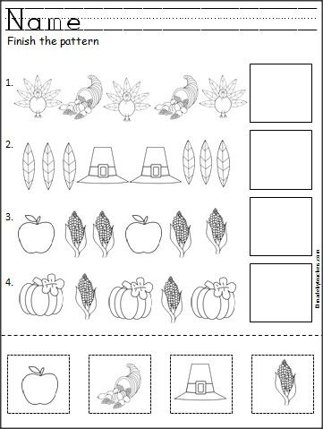 This is a free Thanksgiving pattern worksheet for Kindergarten or Pre-K math.  Students cut, paste, and color the Thanksgiving pictures to practice their fine motor skills and pattern recognition.  Available FREE on Madebyteachers.com.