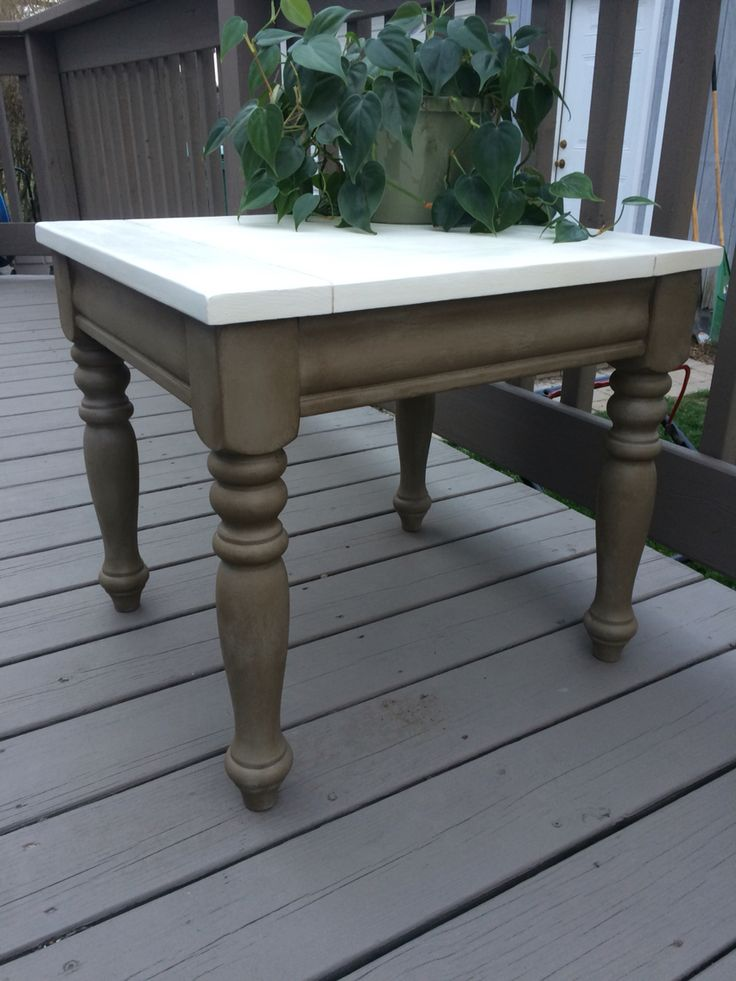 Side Table Refinished In Annie Sloan French Linen W Dark Wax Legs And