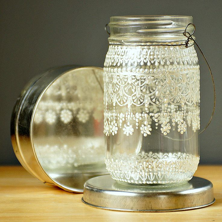 Hand Painted Mason Jar Moroccan Lantern, Lace  Design in White Pearl - on Crystal Clear Glass. $24.00, via Etsy.