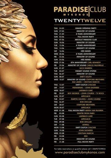 Paradise Club Mykonos 2012 line-up