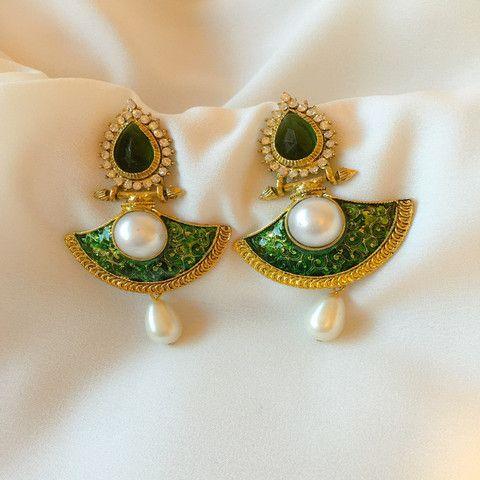 Indian Traditional Meenakari work Jodha Jhumka Earrings.Green Stone studded with Pearl hanging doppling.