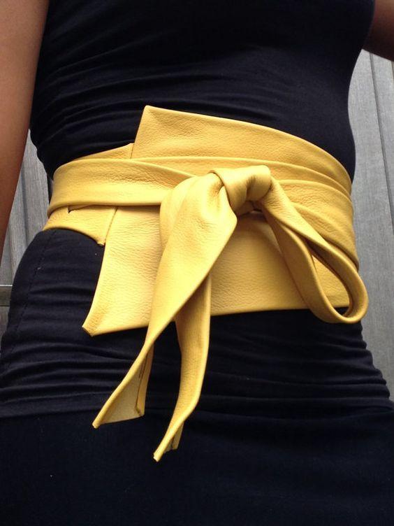 XXL Mosterd yellow asymetric genuine leather obi belt by SmpliAnwi: