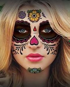 Floral Day of the Dead Sugar Skull Temporary Face Tattoo Kit eBay
