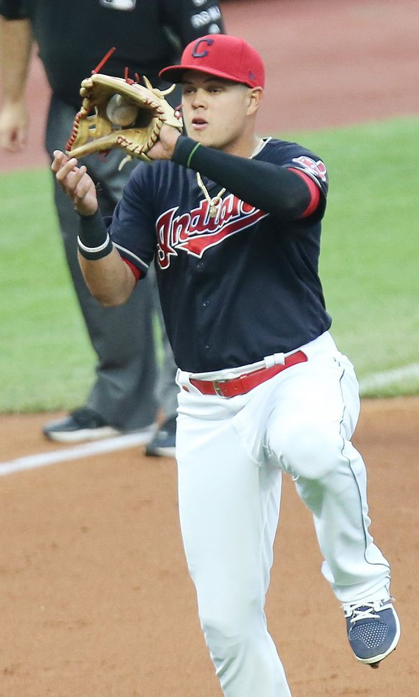 Cleveland Indians Giovanny Urshela catches a high bounce on a grounder off the bat of Toronto Blue Jays center fielder Kevin Pillar in the sixth inning for the out, July 22, 2017, at Progressive Field. (John Kuntz, cleveland.com). Indians won 2-1 in the 10th