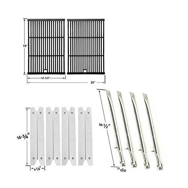 Repair Kit For Brinkmann 810-8401-S BBQ Grill Includes 4 Stainless Heat Plates, 4 Stainless Burners and Porcelain Cast Cooking Grates