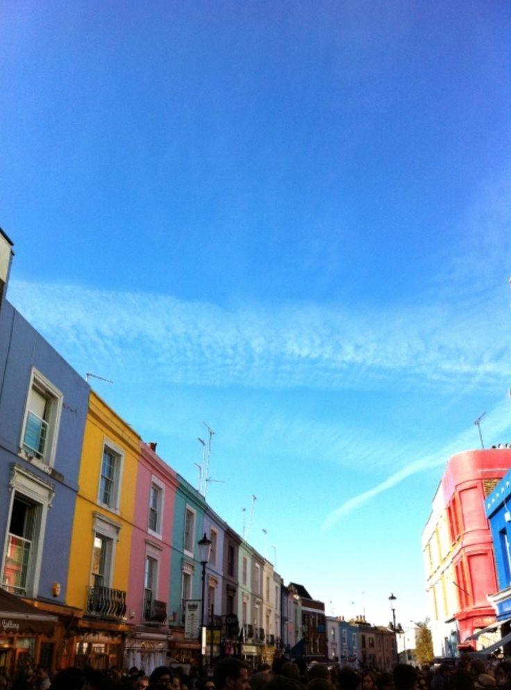 Blue sky view from walking down Portobello.