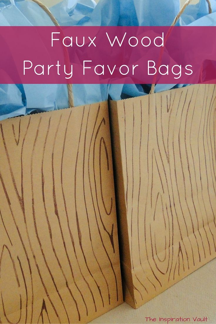 Faux Wood Party Favor Bags craft tutorial. Camping Bigfoot Outdoors party.