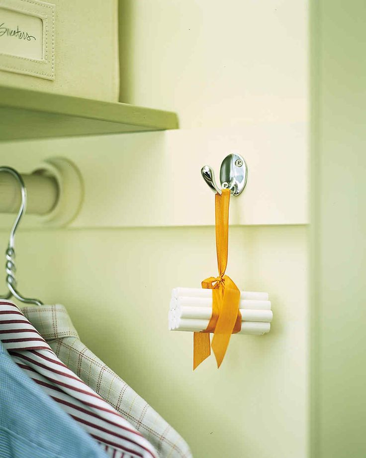 Chalk Dehumidifier | Martha Stewart Living - A bundle of chalk hung in a closet will absorb extra moisture and keep clothing fresh and dry, and takes up much less room than an electric dehumidifier.