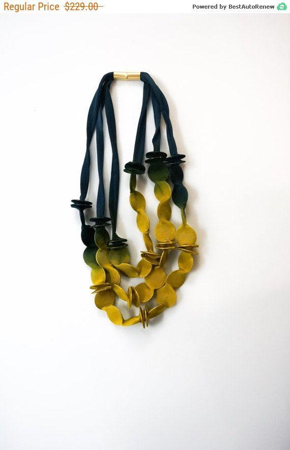 Triple necklace textile necklace asymmetric necklace by Frogaspect