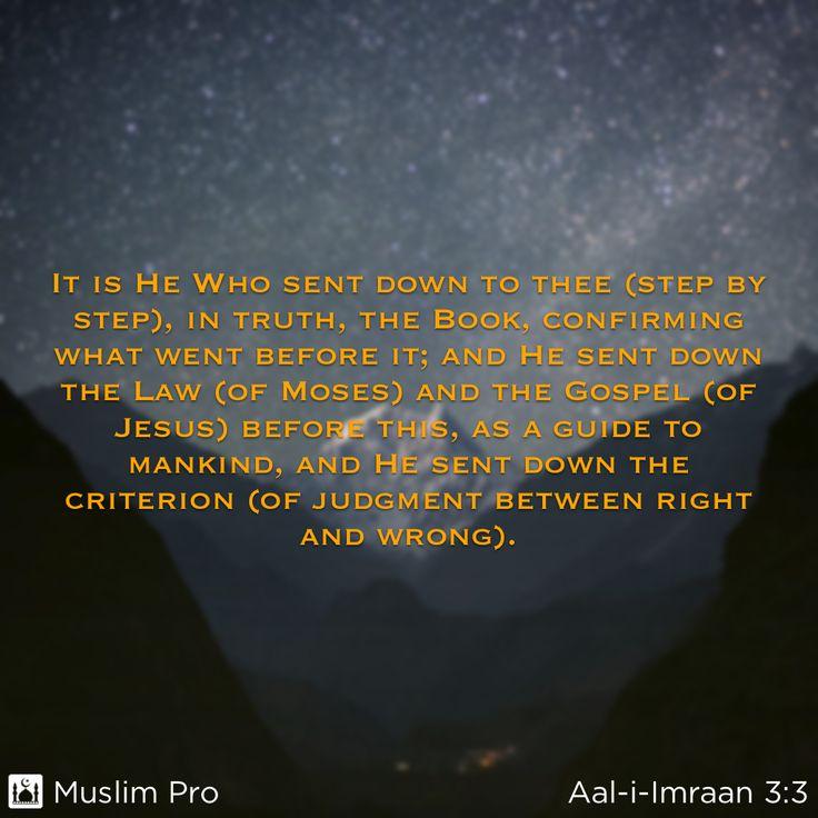 Zitat aus dem Heiligen Koran, Aal-i-Imraan (3:3) #muslimpro http://www.muslimpro.com