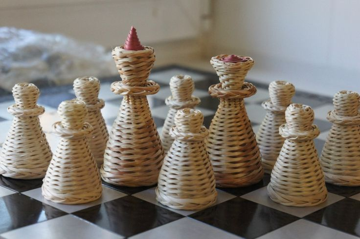 Шах И Мат, плетеные шахматные фигуры, шахматы, плетение из газетных трубочек
