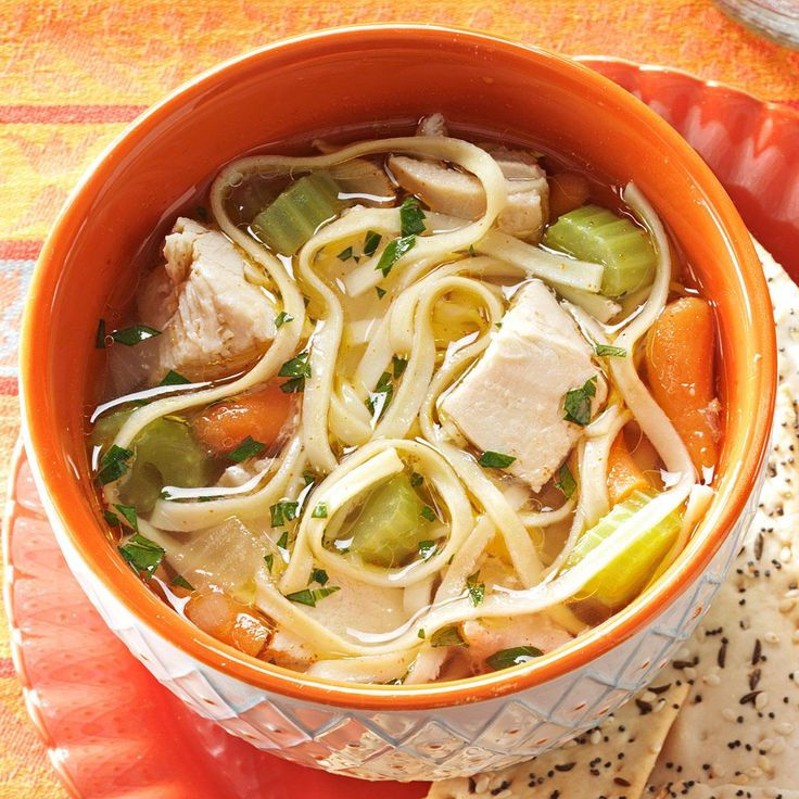 Hearty Homemade Chicken Noodle Soup Recipe -This satisfying homemade soup with a hint of cayenne is brimming with vegetables, chicken and noodles. The recipe came from my father-in-law, but I made some adjustments to give it my own spin. —Norma Reynolds, Overland Park, Kansas
