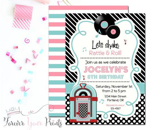 Sock Hop Invitation Sock Hop Birthday by ForeverYourPrints on Etsy