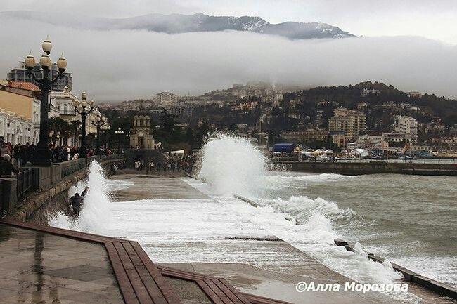 Зимний шторм.Ялта,Крым,Россия