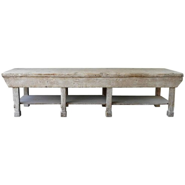 Large Italian Ceramic Sculptoru0027s Table With Bleached Patina And Column  Legs. Furniture CollectionColumns