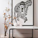 limited-prints, linocuts animals, graphical, people-in, black, white - Tiger Girl -  Monika Petersen - Beauton Art Gallery