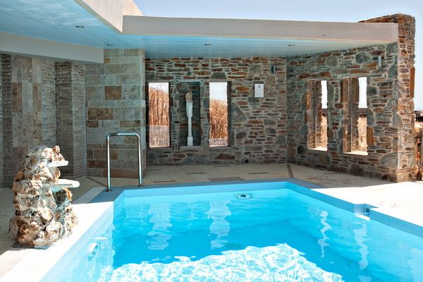 The stunning pool area of the Yellow House in #Tinos Habitart... http://www.tinos-habitart.gr/yellow-house.php