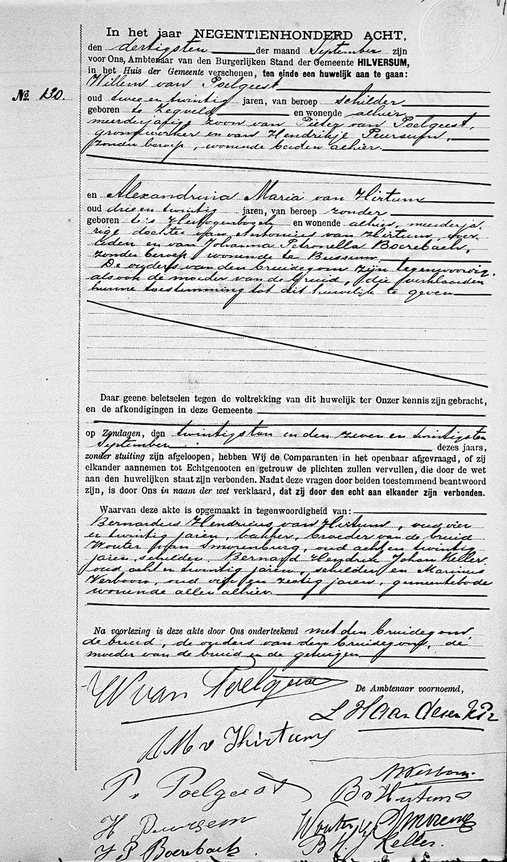 Huwelijksakte van Alexandrina Maria van Hirtum en Willem van Poelgeest. Bron: zoekakten.nl