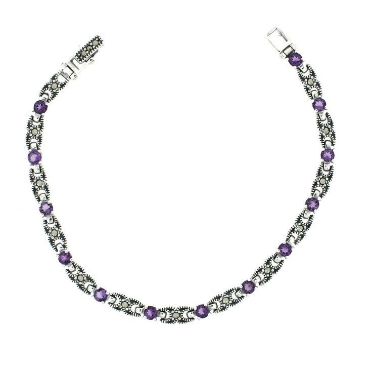 Amethyst Marcasite Bracelet