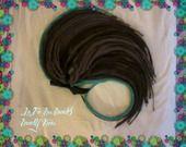 Doubles dreads synthétiques chatain foncé, chatain clair et turquoise : Accessoires coiffure par la-fee-des-dreads-dready-kreas