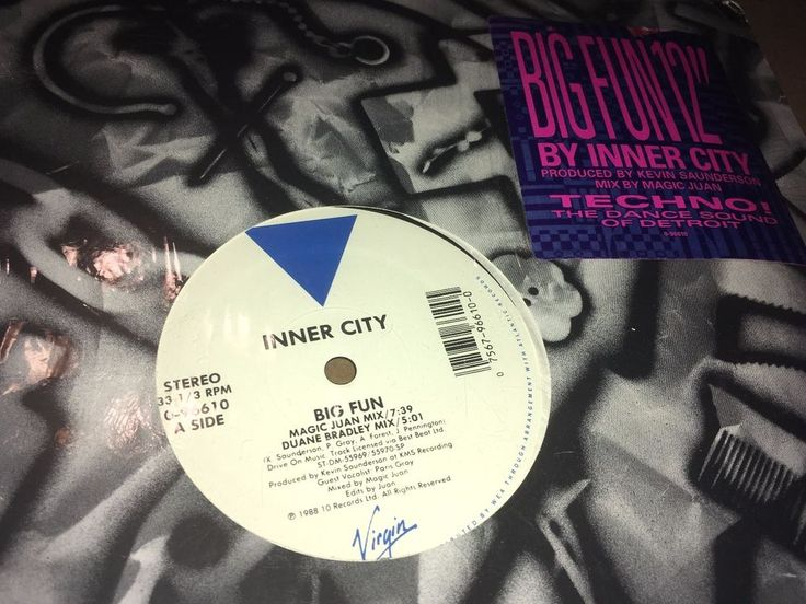 """Inner City Big Fun Virgin Records 1988 12"""" House Techno Music #DiscoElectroFunkElectronicaHouseSynthPopTechno"""