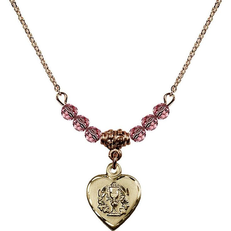 18-Inch Hamilton Gold Plated Necklace with 4mm Light Rose Pink October Birth Month Stone Beads and Heart / Communion Charm. 18-Inch Hamilton Gold Plated Necklace with 4mm Light Rose Birthstone Beads and Heart / Communion Charm. Hand-Made in Rhode Island. Lifetime guarantee against tarnish and damage. Hamilton gold is a special alloy designed to have a rich and deep gold color.