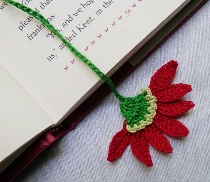 Crochet Red Aster Flower Bookmark,Scrapbooking,Appliques,Crafts,Christmas