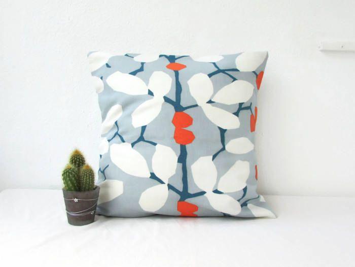 Blue cushion cover, leaf print pillow cover, blue and orange, modern print cushion, British designer Romo linen fabric, handmade in the UK by KimsHandmadeCave on Etsy https://www.etsy.com/uk/listing/232273250/blue-cushion-cover-leaf-print-pillow