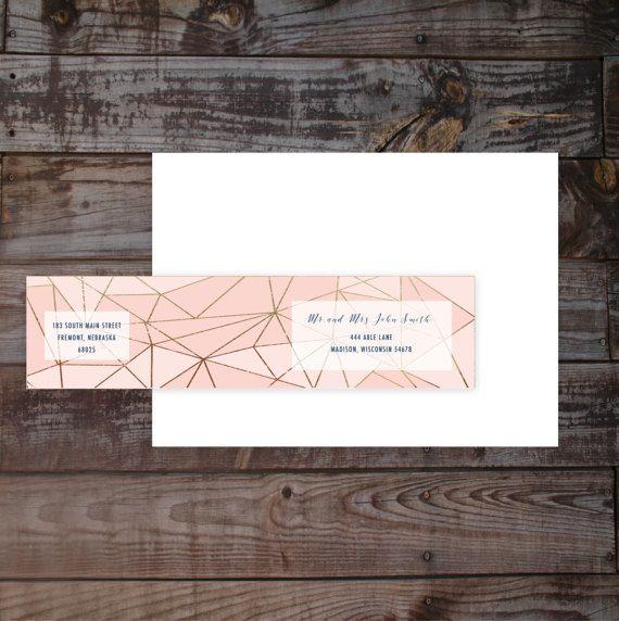 Address label, Modern Geometric, Wrap Around Mailing Address Label, Wrap around label, Return address label, digital File, Printable