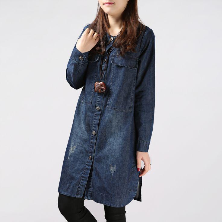 Women 2016 Denim Shirt Loose Jeans Dress Casual Cowboy Cloth Thin ...