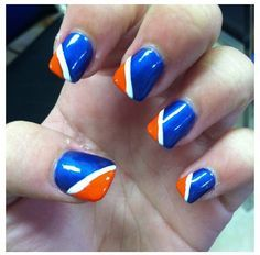 Superbowl 2016 easy nail art - Denver Broncos