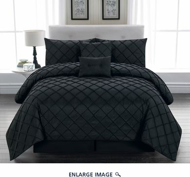 6 Piece Queen Melia Black Comforter Set $80 guest room ideas