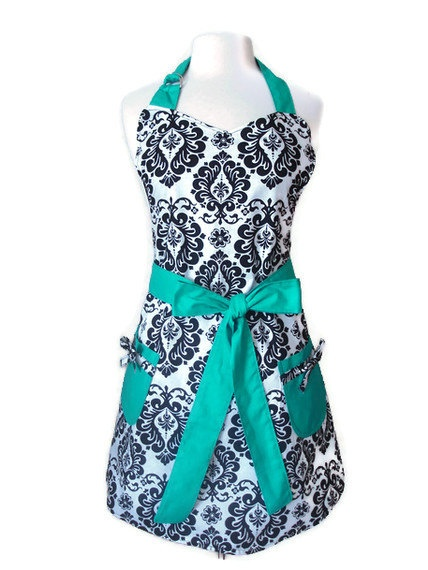 Retro Apron - Black and White Damask Apron with Teal Ties - Full Hostess Reversible Apron for women. $33.00, via Etsy.