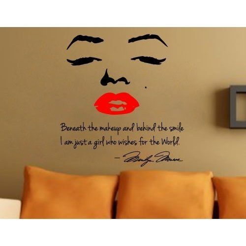 Marilyn Monroe wall tattoo. My niece just got this or her college dorm. I don't care if I'm copy catting, I'm getting this too..
