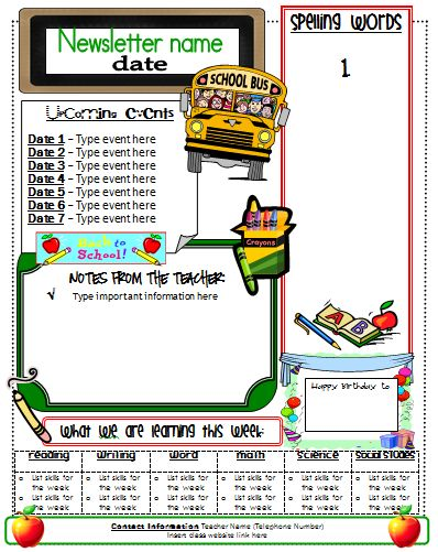 School Newsletter Templates Easy To Use Cute Online Classroom